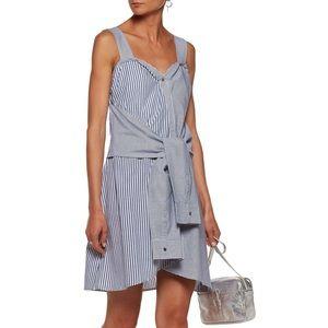 Tie-front paneled striped cotton mini dress